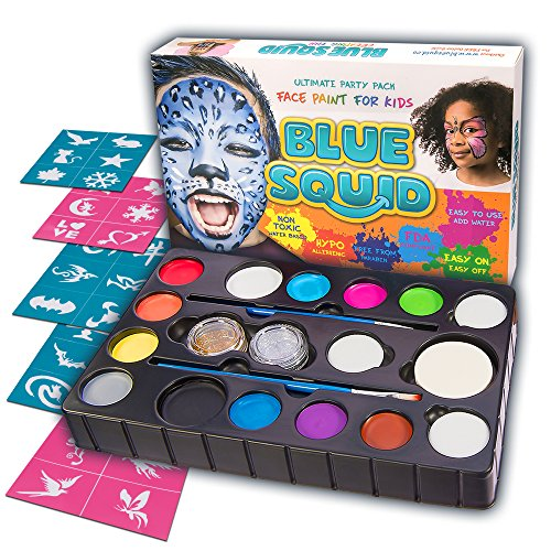 [Face Paint Kit | 14 Color, 30 Stencils, 4 Sponges, 2 Brushes, 2 Glitter Gels | Best Quality Ultimate Party Pack for Kids by Blue Squid | Vibrant Water Based NonToxic FDA Approved |+BONUS Online] (Beautiful Witch Costumes)