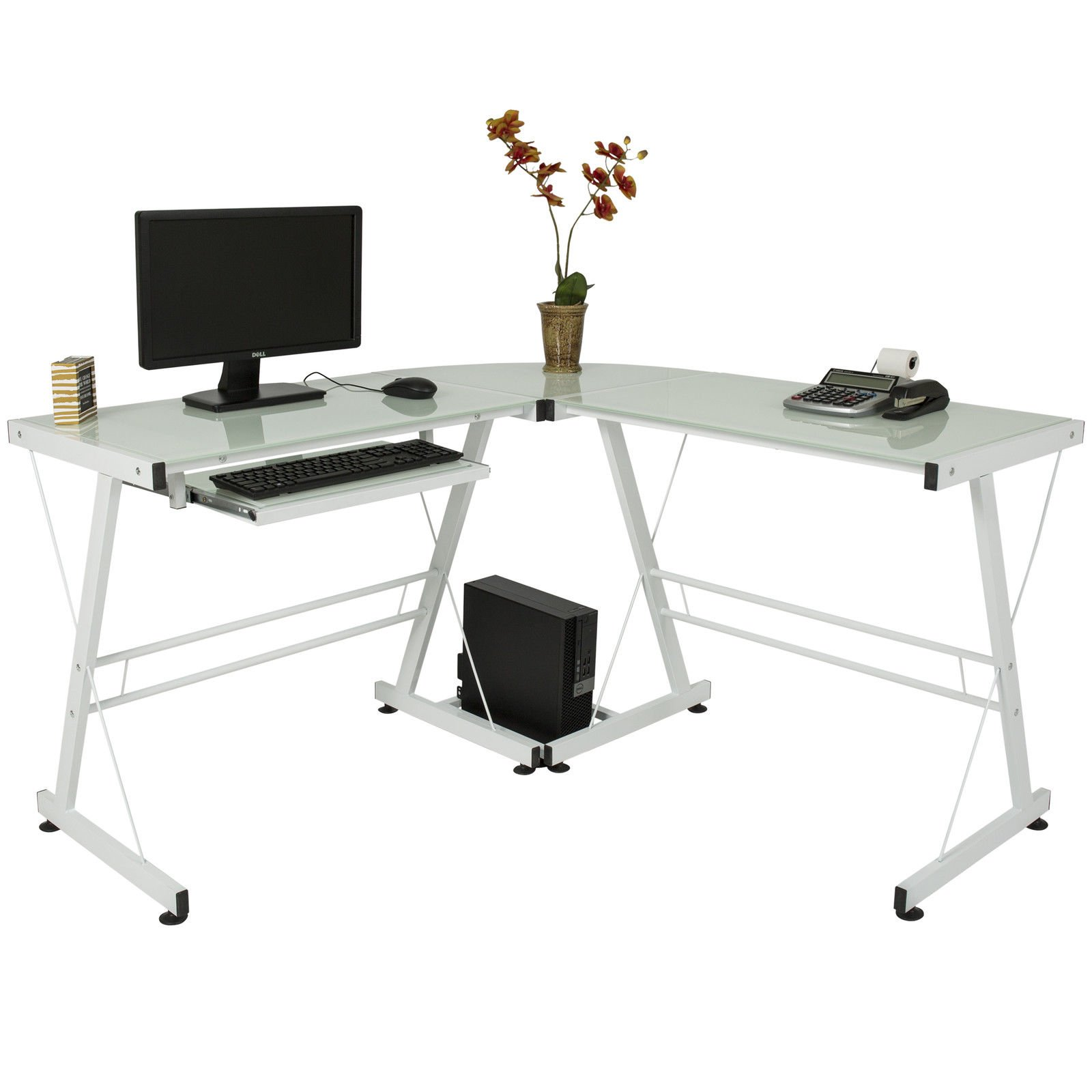 Eight24hours L-Shape Computer Desk PC Glass Laptop Table Workstation Corner Home Office White by Eight24hours