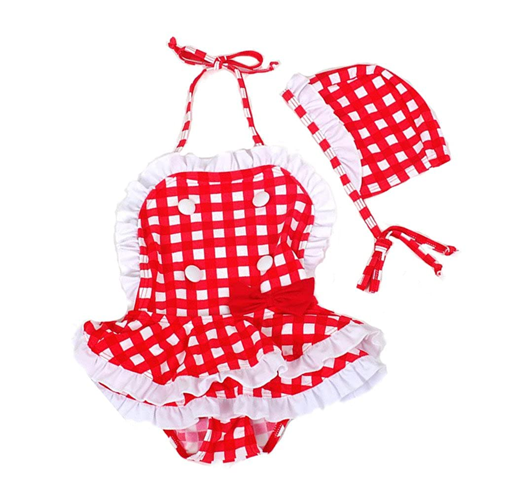 Three Babies Baby Girl Swimsuits Red& White Tartan 2 Pieces Swimwear Sets Three Babies_014