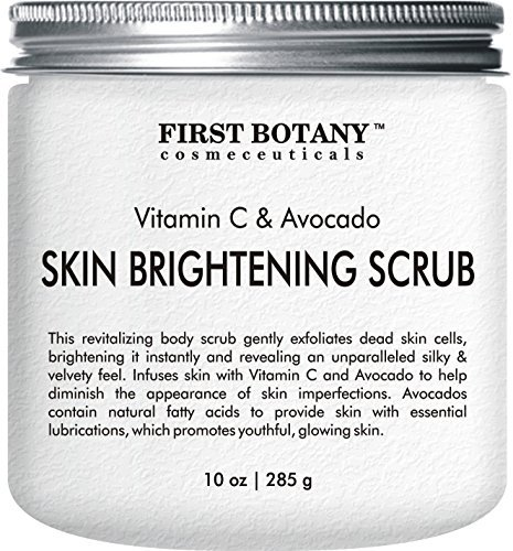 Skin Brightening Scrub 10 oz - the BEST Revitalizing body scrub and exfoliator- Infuses skin with Vitamin C and Avocado to help diminish the appearance of skin imperfections ()