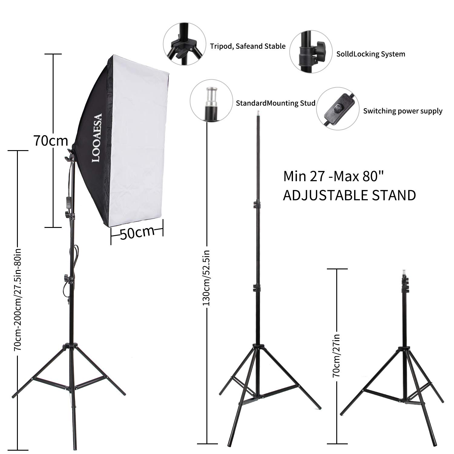 1350W Photography Lighting Softbox Lighting Kit Continuous Photo Video Lighting System with Sandbag and 5500K Bulb 20''X28'' Professional Studio Lights Equipment for Youtube Filming Portraits by LOOAESA by LOOAESA (Image #3)