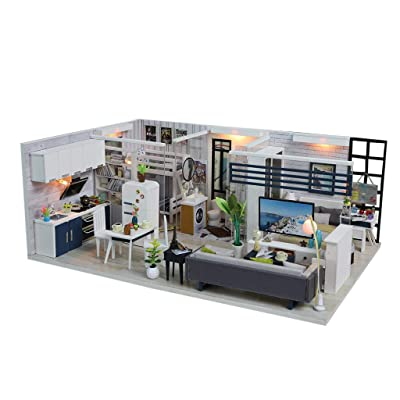 Unionm Doll House, Dollhouse Furniture, Tiny House, Dollhouse Kit, Miniatures, DIY 3D Wooden Duplex House Puzzle Toy with LED Light Birthday Gifts for Teens Adult (C, Not Included dust Cover): Toys & Games