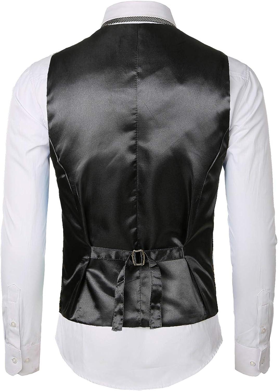 JOGAL Mens Paisley Jacquard Suit Waistcoat Classic Slim Fit Tuxedo Formal Wedding Suit Vests