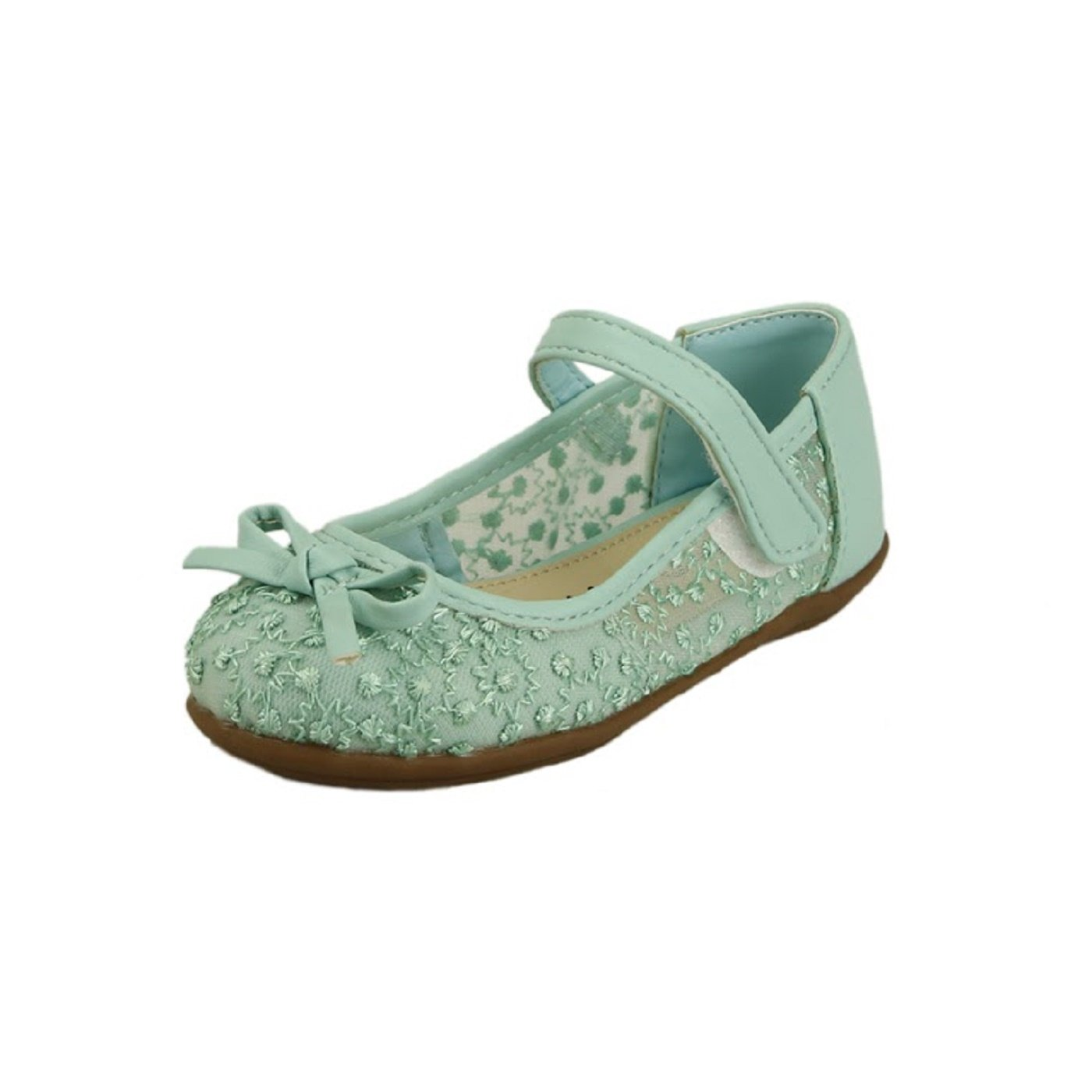Wedding Flower Girl's Shoes Embroidery Organza Strap with Bow Toddler Size (13, Mint)
