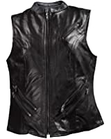 Women's Naked Leather Motorcycle Vest With Two Gun Pockets