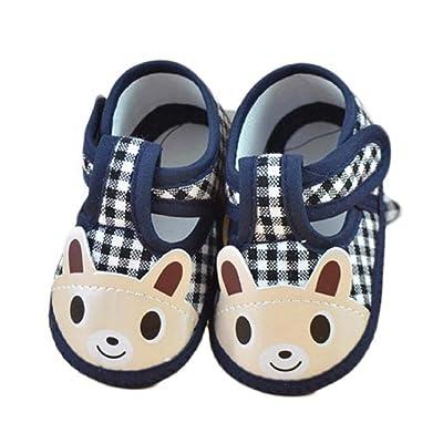 Chaussures de bébé Auxma Nouveau-né bébé garçon Lovely Cartoon souple unique berceau Toddler Shoes Canvas Sneaker Pour 0-10 mois (0-3 M, Marine)