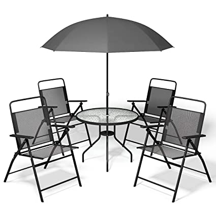 Fabulous Giantex 6 Pcs Patio Garden Set Furniture Umbrella Gray With 4 Folding Chairs Table Pdpeps Interior Chair Design Pdpepsorg