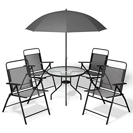 Amazon.com: giantex 6 pcs Patio Jardín Set Muebles paraguas ...