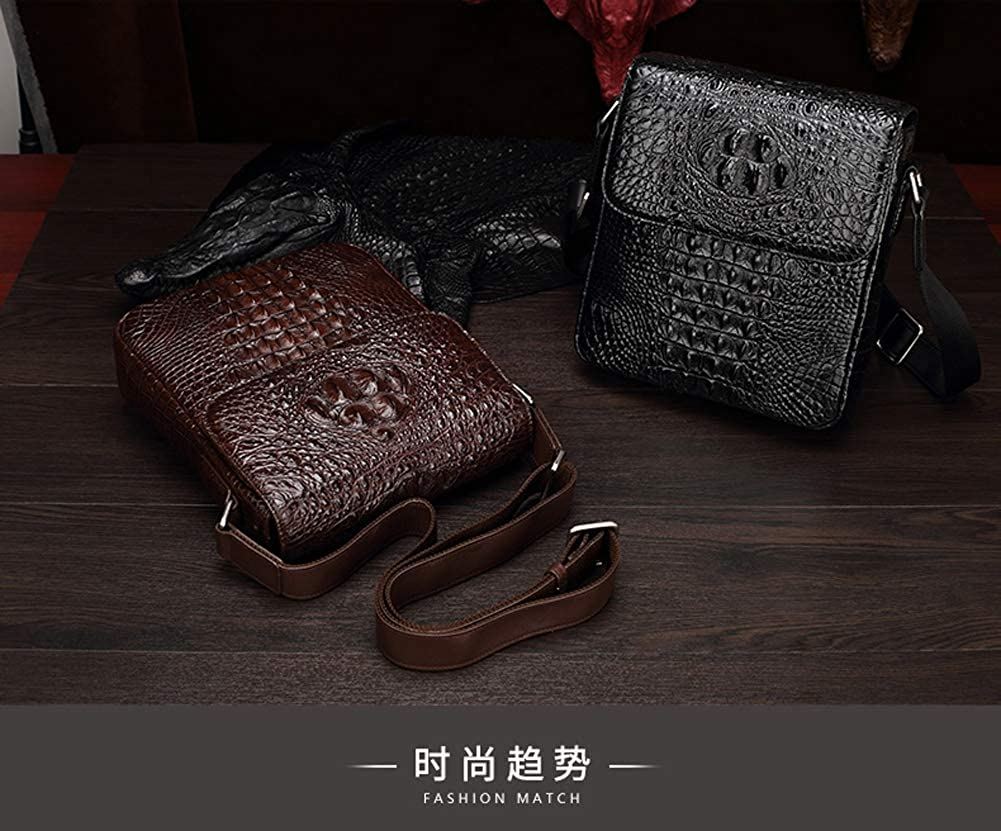 Leather Satchel Mens Genuine Leather Cross Body Shoulder Bag Casual Business Briefcase Handbag Messenger Bag With Crocodile Pattern Leatherpack Coffee