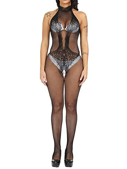 ef00e8be9 Amazon.com  LemonGirl Fishnet Bodystockings Lingerie for Women Open  Crotchless Bodysuit Stockings Free Size  Clothing