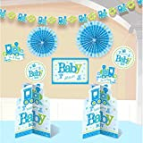 Welcome Little One Boy ( Welcome baby Boy / It's a Boy ) Blue Baby Boy Baby Shower Party Decoration Value Bundle Pack / Kit - Baby Shower Decoration (10 Pcs)