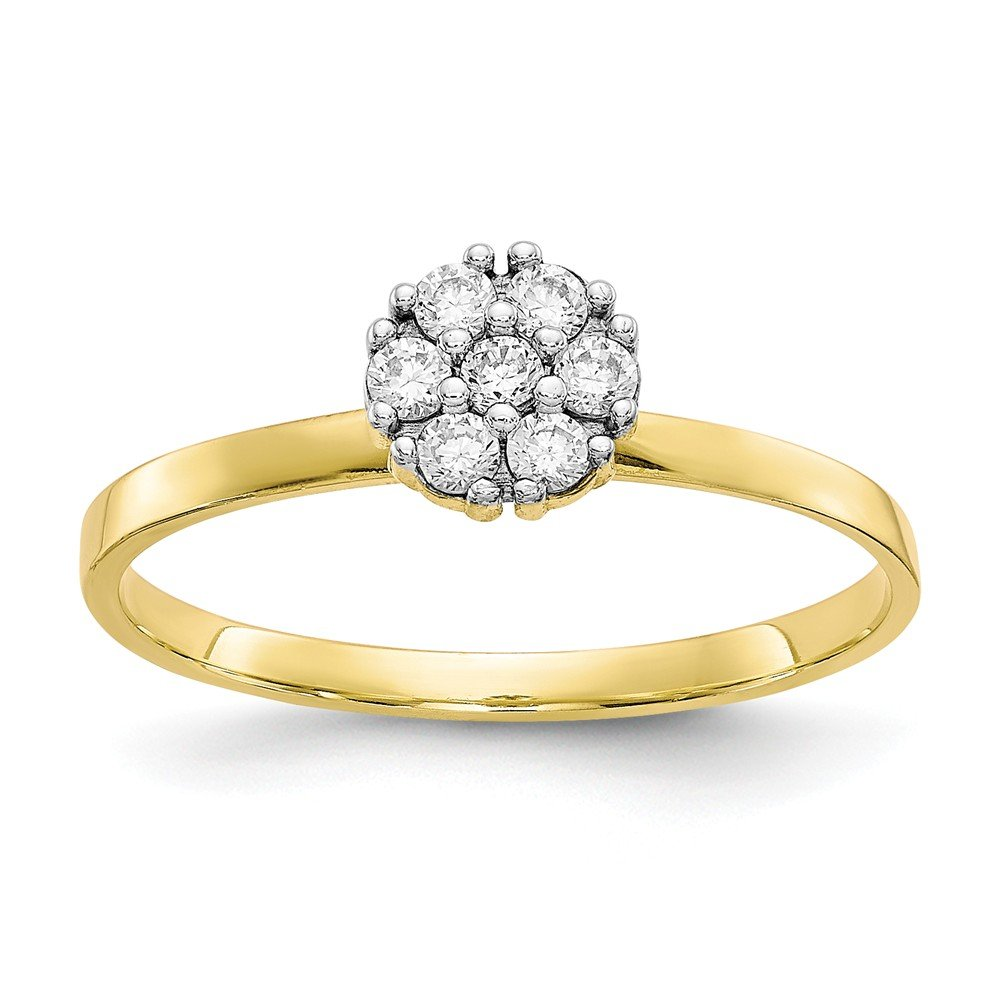 Top 10 Jewelry Gift 10k CZ Cluster Promise Ring