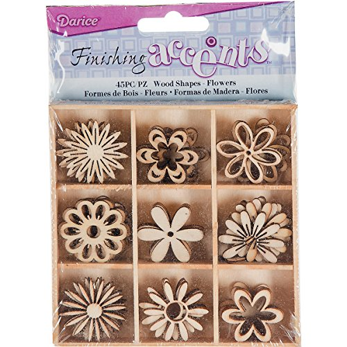 Finishing Accents 23465 45 Piece Flower Theme Mini Laser Cuts Wood Shapes, Multicolor
