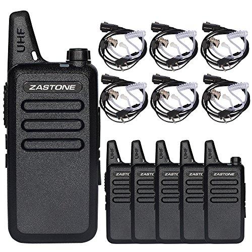 Zastone X6 Walkie Talkie Earpiece 3W 16-Channel UHF 400-470Mhz Rechargeable Long Range Two-Way Radios 6 Pack