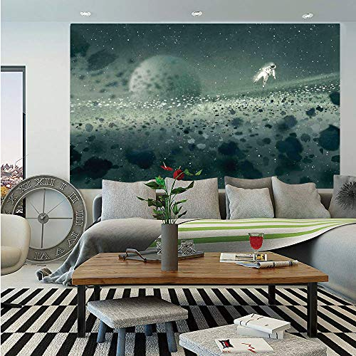 SoSung Fantasy Art House Decor Huge Photo Wall Mural,Moon Journey of Astronaut on The Surface Outer Space Asteroid Field,Self-Adhesive Large Wallpaper for Home Decor 100x144 inches,Grey White