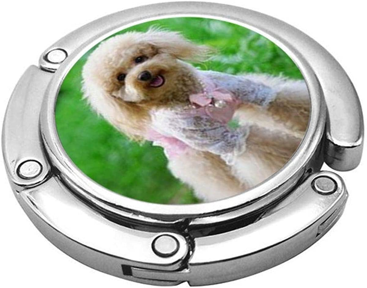 Cute Foldable Purse Hanger For Table,Personalized Purse Hook For Car Poodle Dog