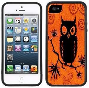 Orange Black Owl Handmade iPhone 5 Black Bumper Plastic Case