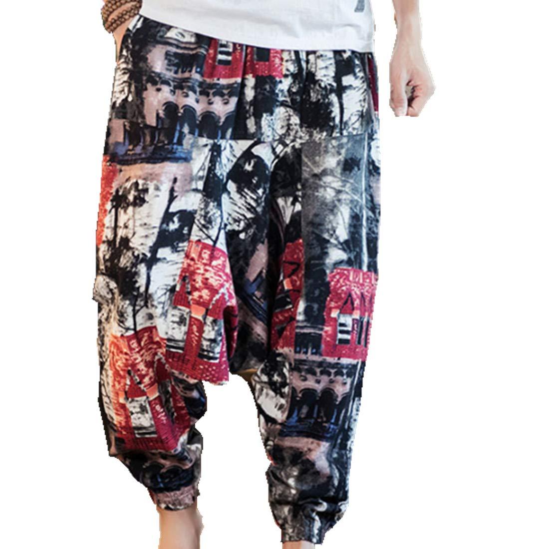 Hzcx Fashion Men's Vintage Cotton Blends Linen Drop Crotch Jogging Harem Pants DSC229-DK69-60-INK-US M TAG 2XL