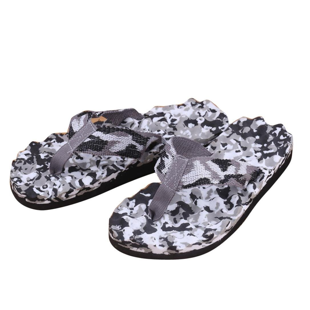 Fullfun Men Summer Camouflage Bath Slippers Shoes Indoor & Outdoor Flip Flops (8.5, Black)
