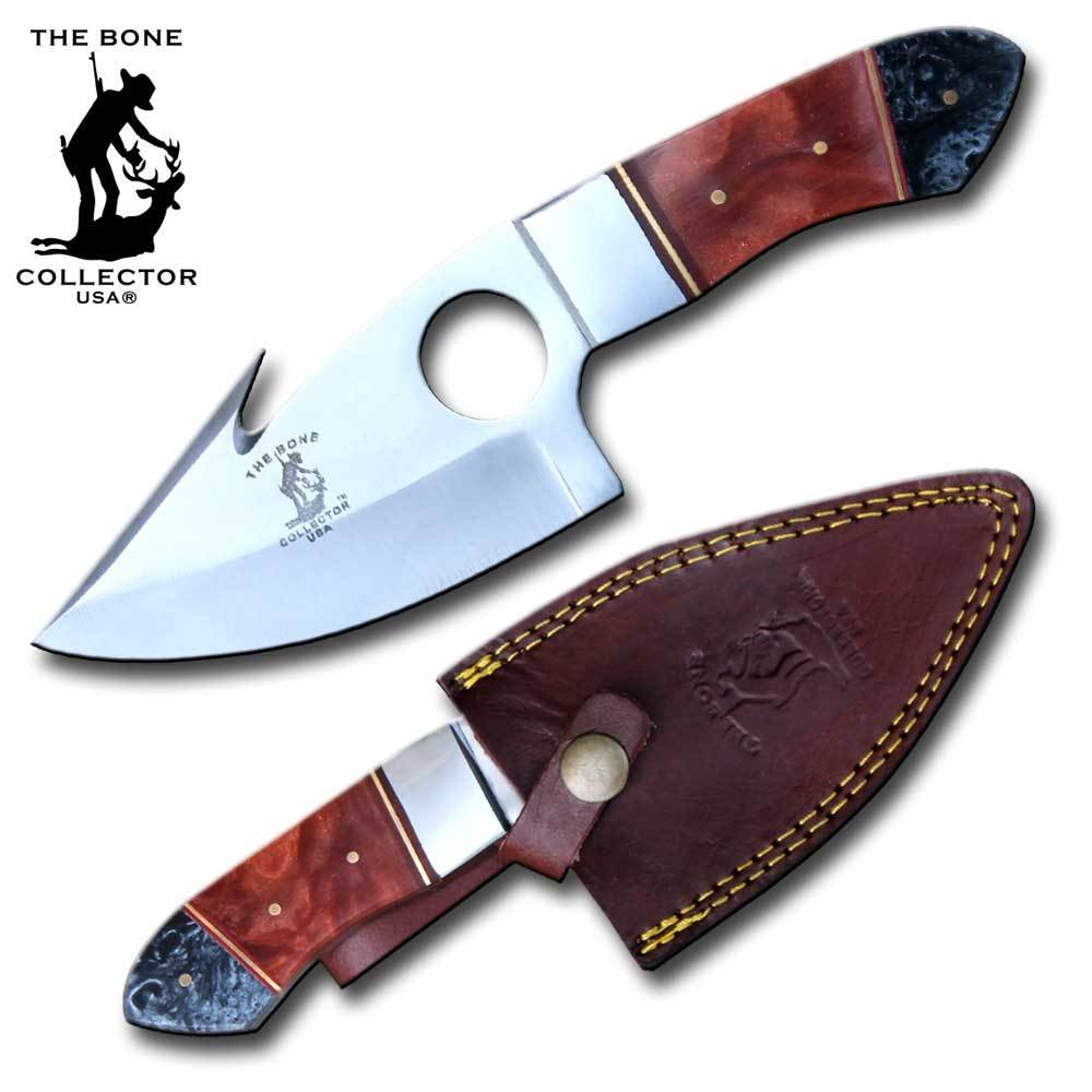 Bone Collector 8 The Black Orange Color Acrylic Handle Full Tang Hunting Guthook Knife with Finger Hole and Leather Sheath