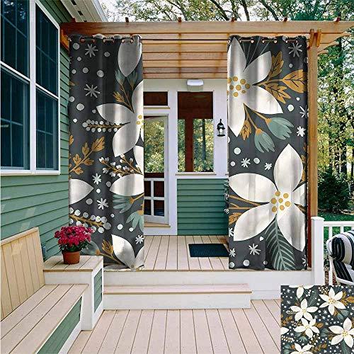 (Beihai1Sun Outdoor Curtains,Floral Poinsettia Blossoms Art,for Patio/Front Porch,W108x96L)