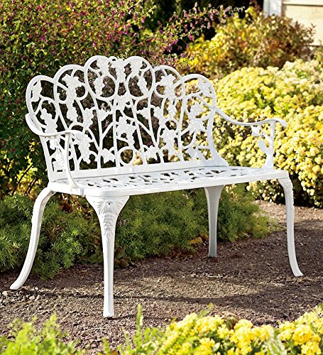 Plow Hearth 34526-WH Grapevine Outdoor Garden Bench, White