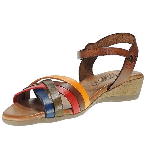 8c87df433c0 Valeria s 4056 Sandalia de Mujer En Vaquetilla Cuña 4 Cm Planta de Gel   Amazon.es  Zapatos y complementos
