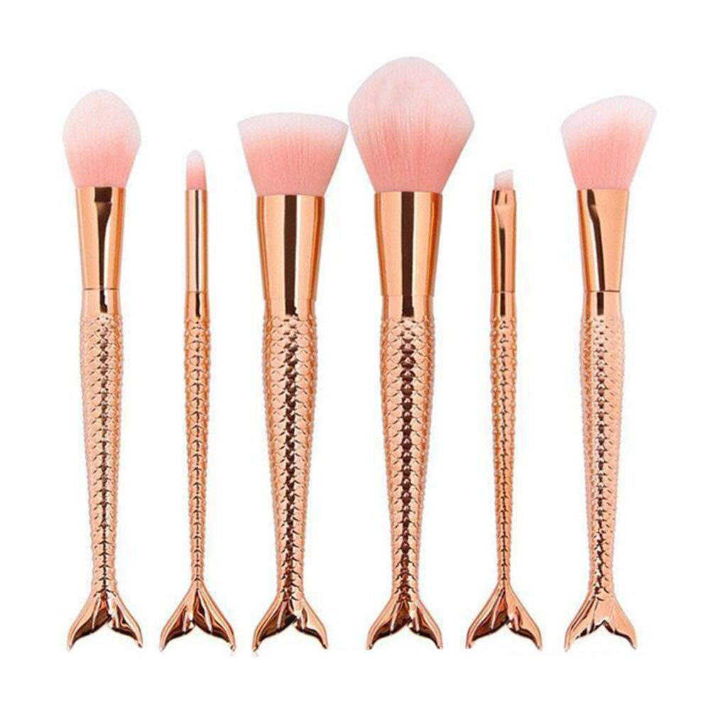 6 Pcs Mermaid Makeup Brush Set, Foundation Blending Blush Eyeliner Face Powder Concealer Eye Shadow Brushes Beauty Cosmetic Tools (gold) Paul Harden