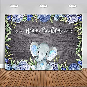 Amazon.com : Mocsicka Boy Elephant Birthday Backdrop Baby