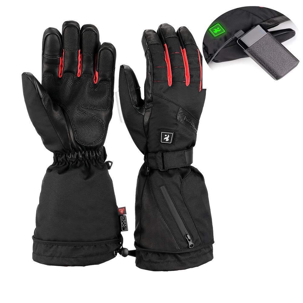 Issyzone Heizhandschuhe, wiederaufladbar, Li-Ionen-Akku, warme Handschuhe, wasserdicht, isoliert, elektrisch, Thermo-Handschuhe für Damen und Herren