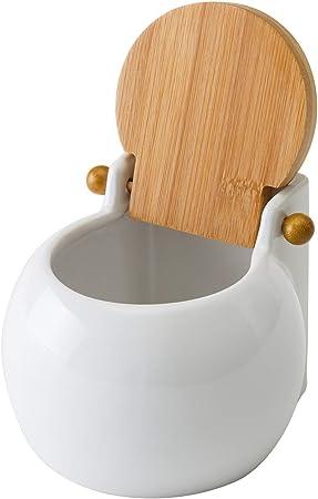 dimensioni 13 x 12 x 11 cm bianco Sale quadrata in porcellana con coperchio in bamb/ù