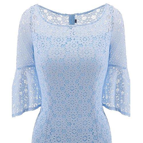 Corta Matita Donna Da Festa Serata Manica A Blue D'amore Wgwioo Vintage Dresses Floreale Light Pizzo Abiti 5wOnxB00qg