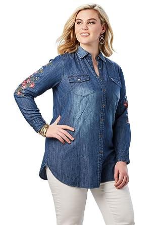 0125cad2560 Roamans Women s Plus Size Olivia Denim Shirt at Amazon Women s Clothing  store