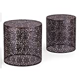 Joveco Metal Iron Nesting Round Side End Table Black Set of 2