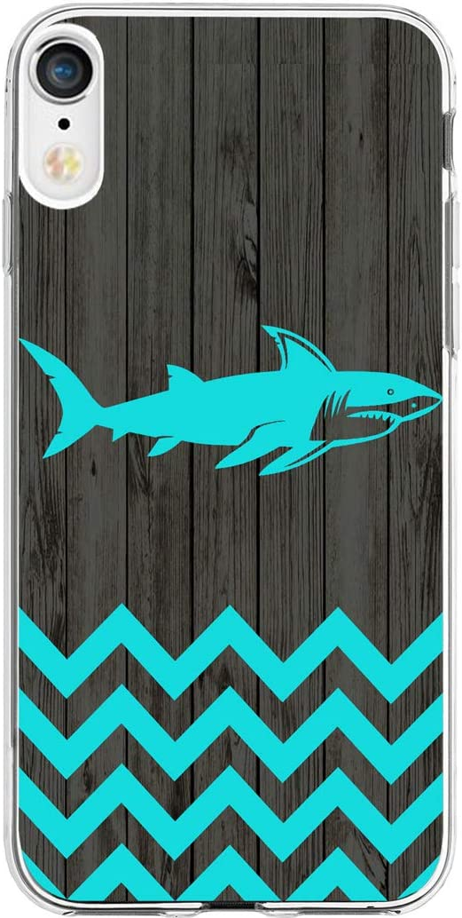 Case for Phone XR & MUQR Gel Silicone Slim Drop Proof Protection Cover Compatible with iPhone XR/10R 6.1 Inches 2018 & Chevron Shark Animal Vintage