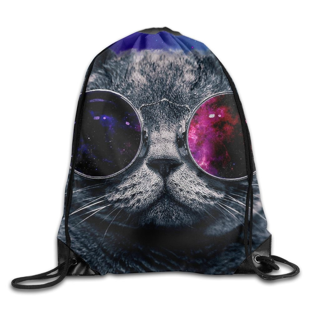 Unisex Large Capacity Drawstring Backpack Galaxy Glasses Cat Space Waterproof Storage Bag For Men And Women