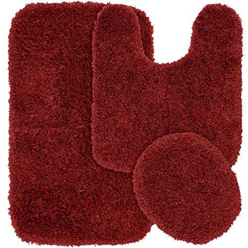 (Garland Rug 3-Piece Jazz Shaggy Washable Nylon Bathroom Rug Set, Chili Pepper Red)