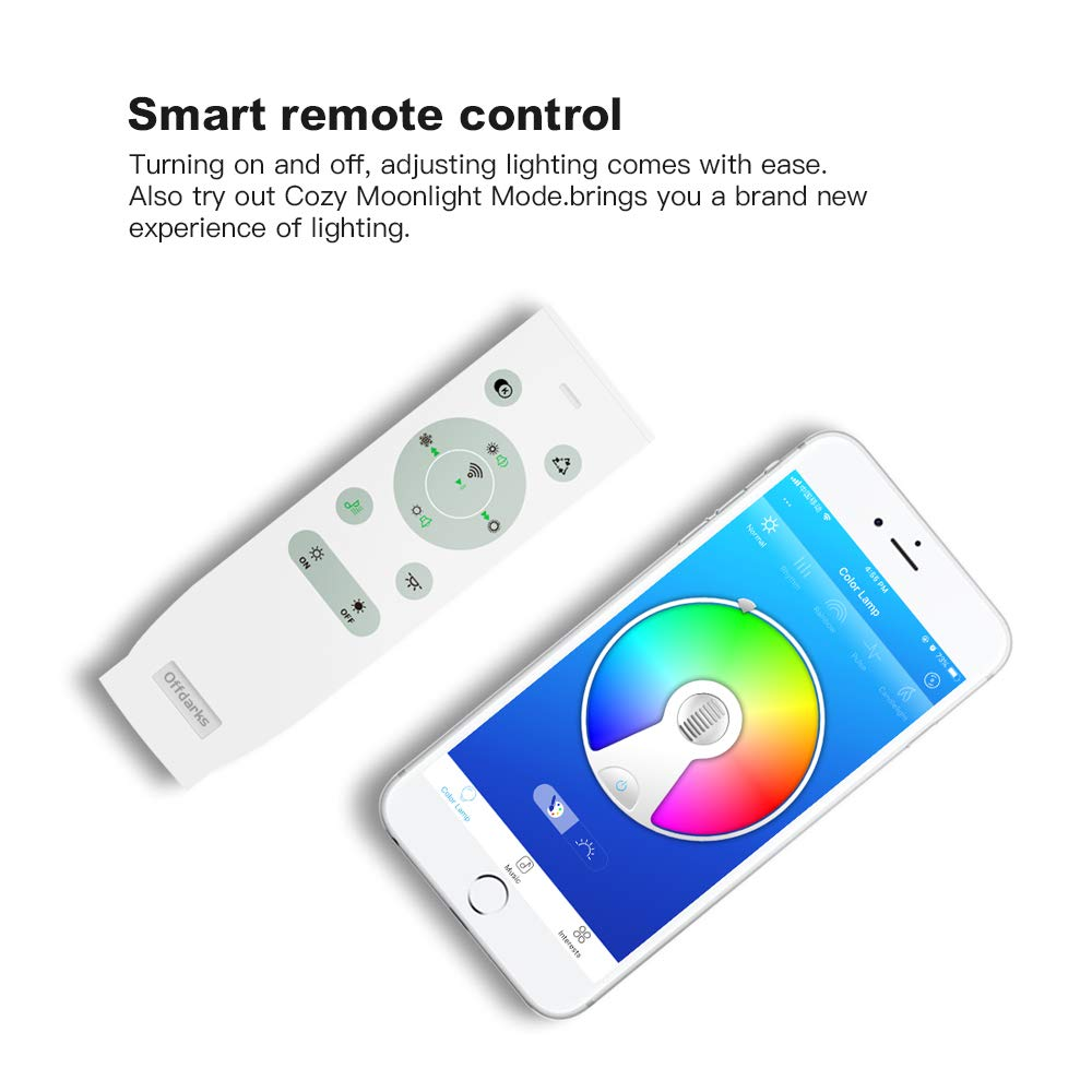 brillo ajustable 15in // 36w Plaf/óns LED L/ámparas de Techo con Altavoz Bluetooth 36W 380x380MM Plaza OFFDARKS APP Mando a Distanci color change