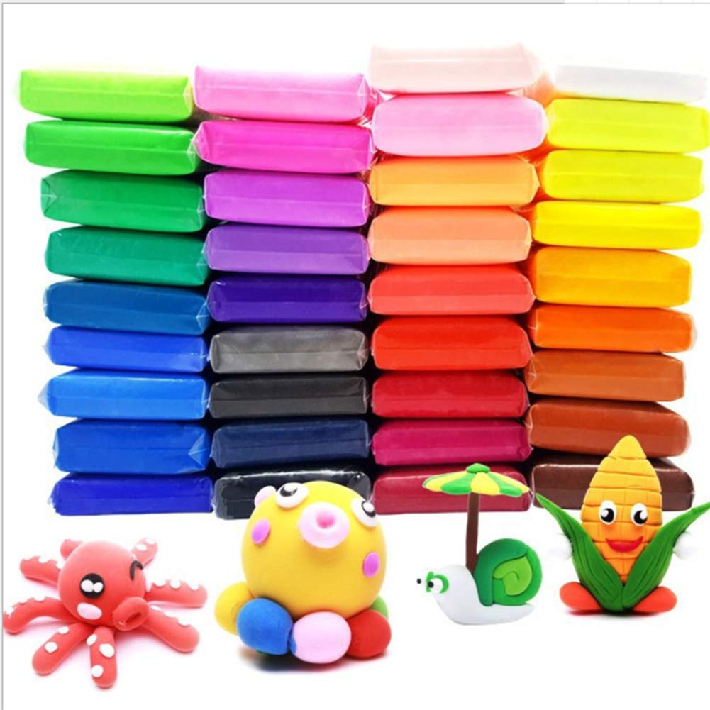 Lunuolao 36 Pack Modeling Clay Fluffy Slime, Super Soft, Environmentally Safety Material, Variety of Color, Lightweight, Develop Creativity, Great for Kids by Lunuolao