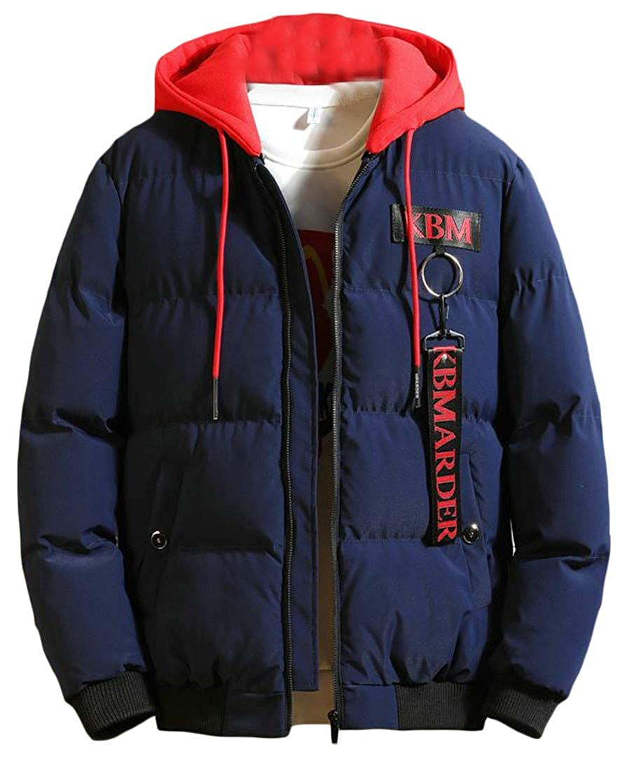 Joe Wenko Mens Down Jacket Winter Thick Cotton-Padded Hooded Warm Parka Coat