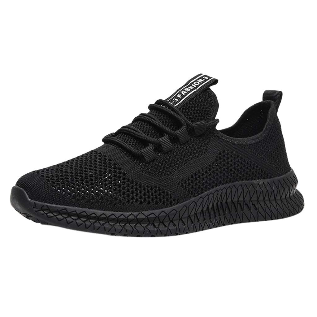 Breathable Running Shoes Men,Mosunx Athletic 【Mesh Woven Lightweight Sneaker】Flat Lace Up Fashion Gym Trail Walking Shoes (8.5 M US, Black)