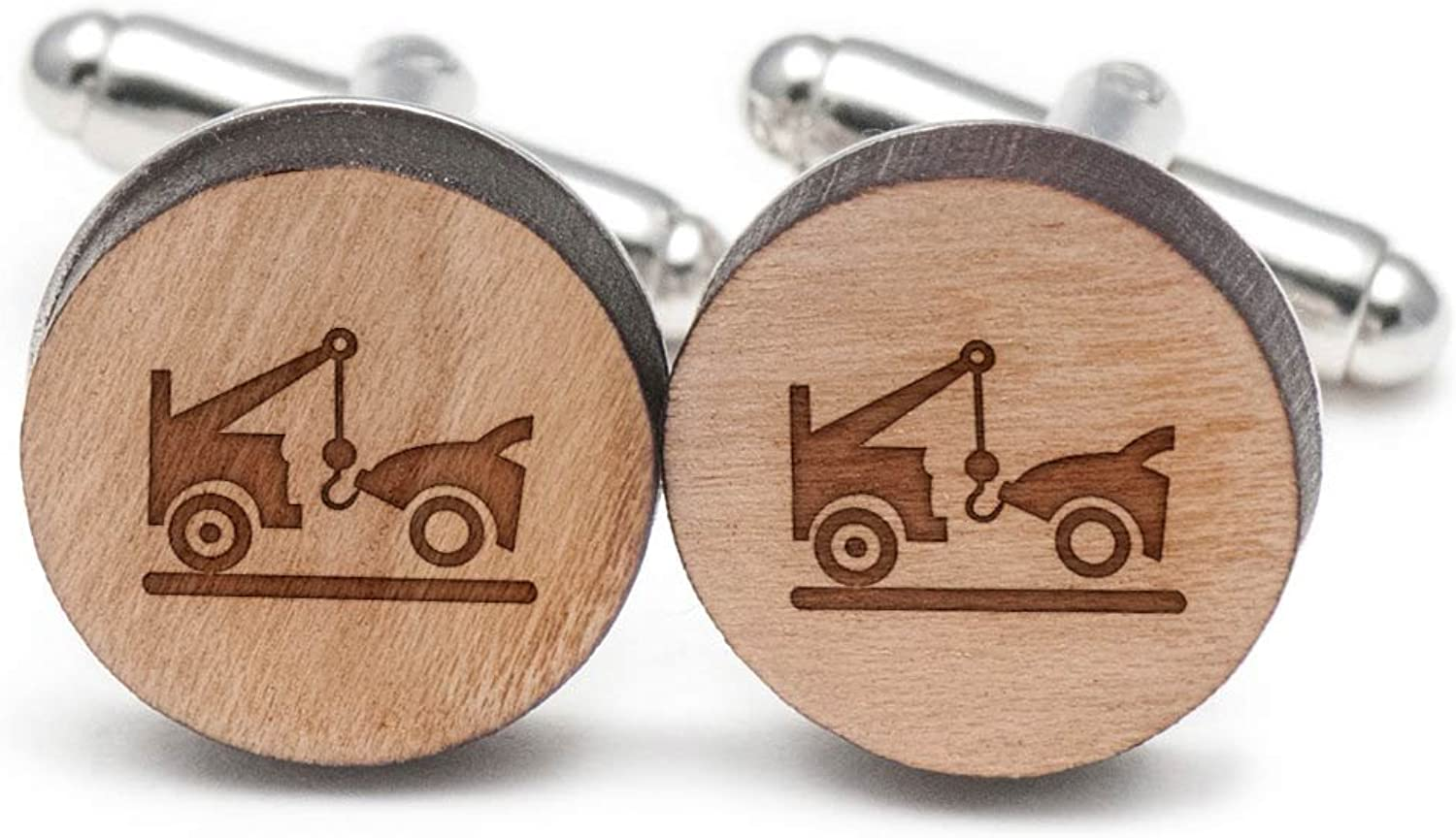 Cherry Wood Tie Bar Engraved in The USA Wooden Accessories Company Wooden Tie Clips with Laser Engraved Trike Design