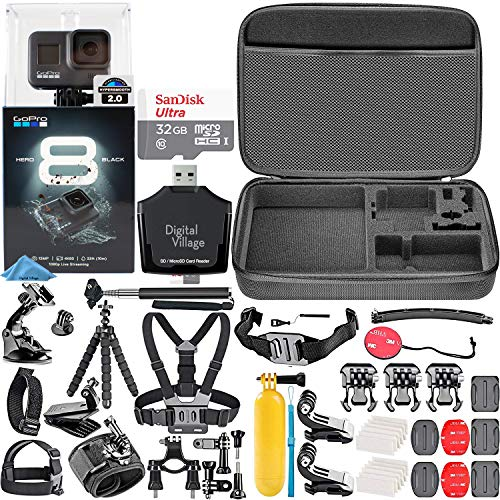 GoPro HERO8 Black + 32GB Memory Card + Hard Case + Card Reader + Chest Strap Mount + Head Strap Mount + Flexible Tripod + Extendable Monopod + Floating Handle + Hero 8 Best Value Bundle