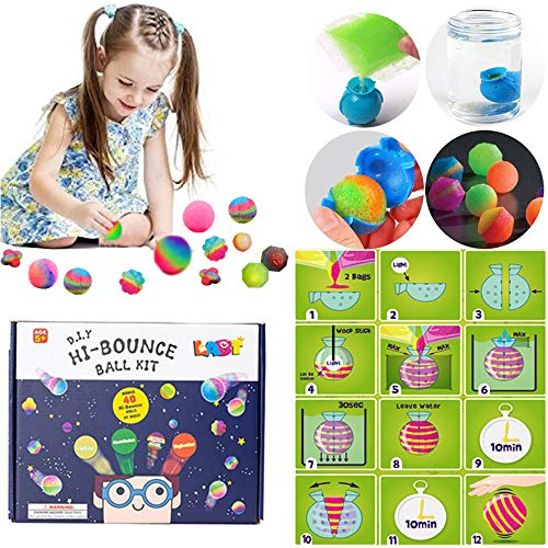 LABT DIY Bouncy Balls Set,Glow in The Dark Power Balls for Boys Girls,Create Your Own Bouncing Ball Craft Kit for Birthday Gift (Bouncy Make Your Balls Own)