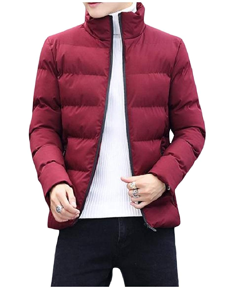 Abetteric Mens Winter Thicken Zip-up Stand Collar Quilted Outwear Fitted Down Coat