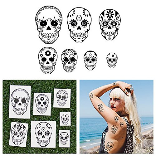 Tattify Various Sugar Skull Temporary Tattoos - Death Wish (Complete Set of 14 Tattoos - 2 of each Style) - Individual Styles Available and Fashionable Temporary Tattoos (Sugar Skull Flash)