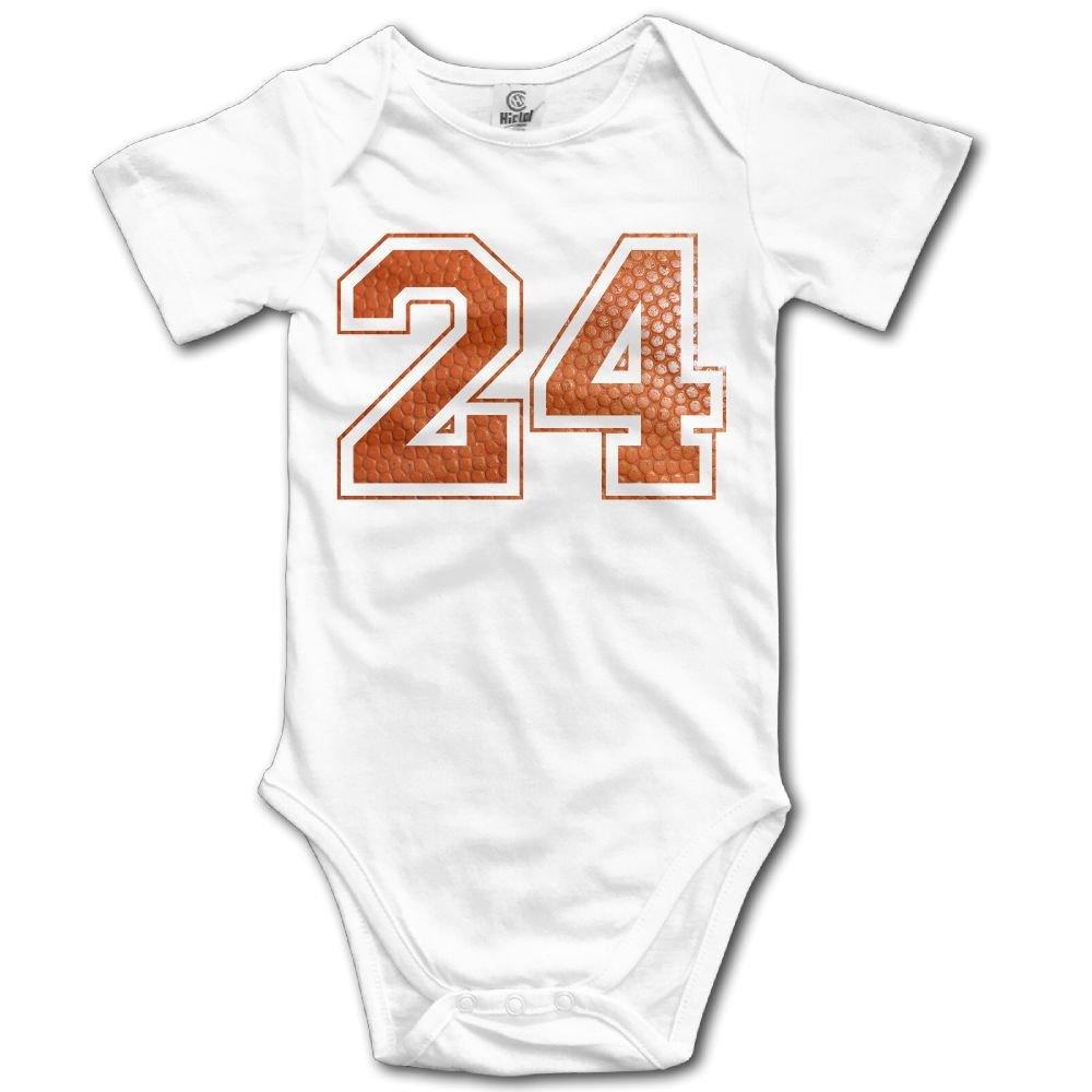 Jaylon Baby Climbing Clothes Romper Number 24 Baskrtball Infant Playsuit Bodysuit Creeper Onesies White