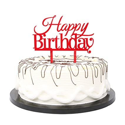 Amazon Com Yuinyo Happy Birthday Cake Topper Red Birthday Party