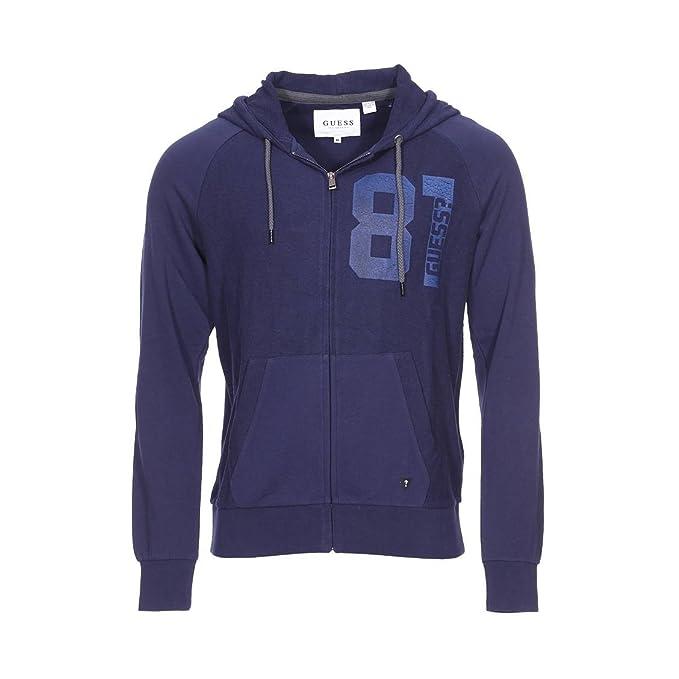 GUESS Hooded, Abrigo para Hombre, Azul Fancy Blue, S