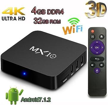 TV Box, MX10 Android 7.1 Caja RK3328 Quad Core 4GB 32GB Compatible con 4K (60Hz) Full HD / H.265 / Dual WiFi BT 4.1 Reproductor multimedia inteligente (MX10 (4G+32G)): Amazon.es: Electrónica